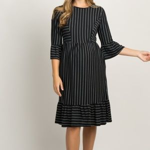 Black Striped Ruffle Trim Maternity Dress